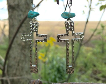 Silver & Turquoise Cross Earrings