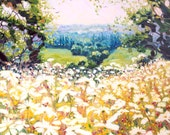 Print on canvas - Hart's Sussex Field - a daisy meadow in spring and a white stag in the distance