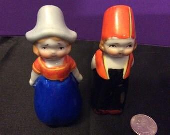 Vintage Dutch Boy and Girl Salt & Pepper Shaker Set