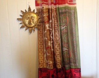 RED CUBIST-Vintage Silk/Polyester Scarf Curtain/Wall Hanging