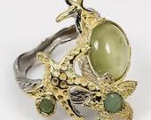 SALE Natural Green Aquamarine Emerald 925 Sterling Silver Gold Ring size 8 - Fine Art Ring - Handmade Ring  boho chic ring Starfish Elegant