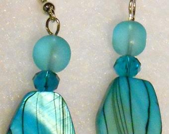 014E Turquoise Abalone Earrings