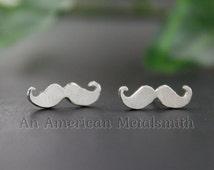 Sterling Silver Mustache Earrings, Mustache Jewelry, Stud Earrings, Silver Stud Earrings, Hipster Earrings, Hipster Gift