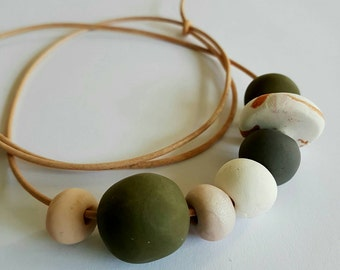 Handmade polymer clay bead necklace.