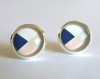 Beautiful glass cabochon stud earrings.