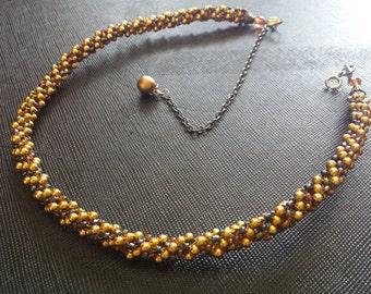 Bead necklace/collar/double bracelet golden&brown