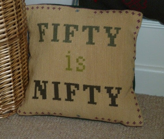 Birthday, bespoke needlepoint cushion,pillow hand made to commission