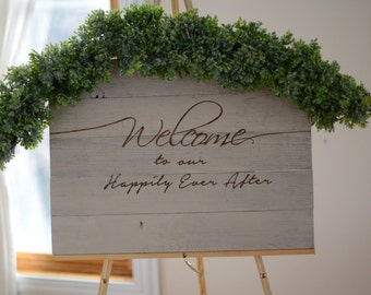 Custom Welcome Wedding Wood Pallet Sign - Welcome to our Happily Ever After Sign