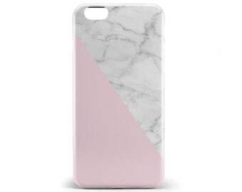 1325 // White Marble with Pink iPhone 5, 5S, 6, 6 Plus Case Samsung Galaxy S5, S6, S6 Edge Custom Monogram Phone Case