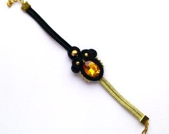 Black bracelet, golden bracelet, elegant bracelet, chic jewelry, soutache bracelet, embroidered bracelet, crystal jewelry, fine bracelet