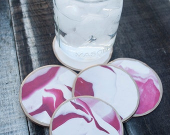 Red & White Clay Coasters - Set of 5