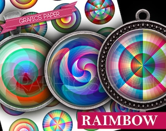 "Raimbow Colors tiles - digital collage sheet 1 inch circles, 1.5"", 1.25"", 30mm, 25mm round - Printable Images - Round Pendant, bezel td398"
