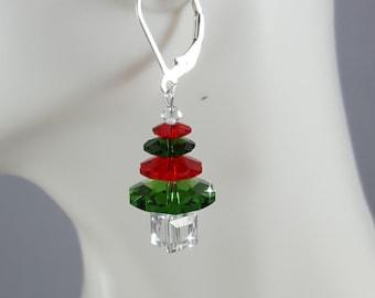 Christmas Tree earrings, swarovski elements, sterling silver .925,