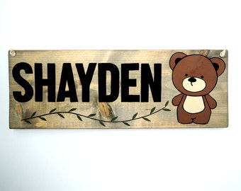 Woodland nursery name sign, Teddy bear, Personalized baby gifts, Nursery decor, Wall art baby names, Woodland name sign, Forest animal art