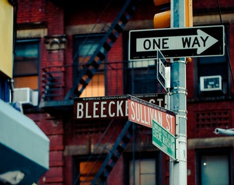 Corner of Bleeker and Sullivan Street-Greenwich Village, New York City.  Vintage toned print.