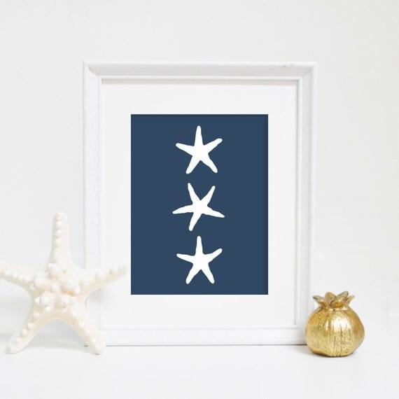 Wall Prints, Navy Blue Starfish, Digital Print, Starfish Wall Art, Beach Decor, Starfish Wall Art, Nursery Print, Wall Decor, Beach Nursery