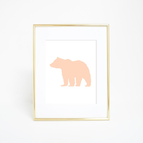 Bear Art Print, Wall Decor, Peach Print, Peach Nursery, Bear Wall Print, Printable Wall Art, Nursery Bear, Woodland Decor Digital Wall Print