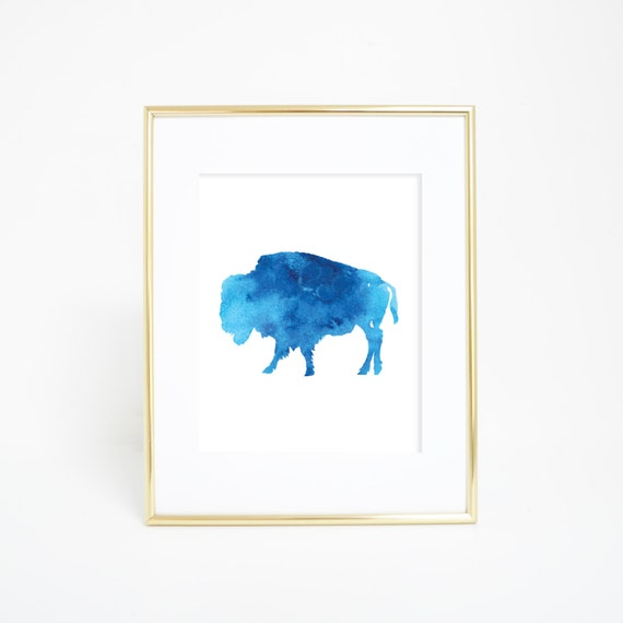 Blue Buffalo Print, Digital Prints, Watercolor Art, Printable Decor, Instant Download, Blue Prints, Bison Art Print, Bison Artwork