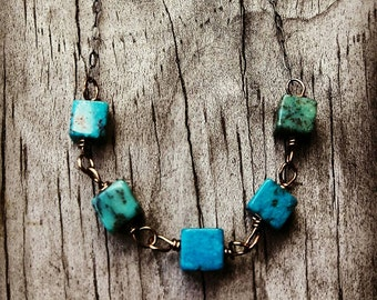 Sterling Silver And Blue Turquoise Necklace