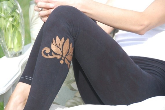 Tall Black Hand Dyed Yoga Leggings with Optional Hand Painted Chakra Design including Extra Long and Plus Sizes by Splash Dye Activewear