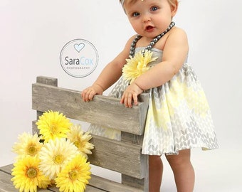 Mommy Miss Lily Dress Photo Prop Grey/Yellow