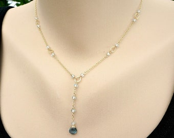 London Blue Topaz Necklace,Aquamarine Necklace,Y Necklace,March Birthstone,Dainty Necklace