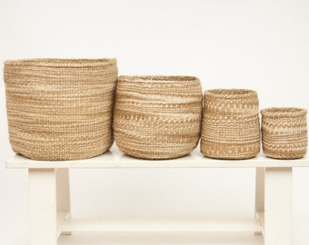 MCHANGA: Khaki Cloud Woven Storage Basket