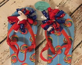 Girls Patriotic Flip Flops With Korker Ribbon