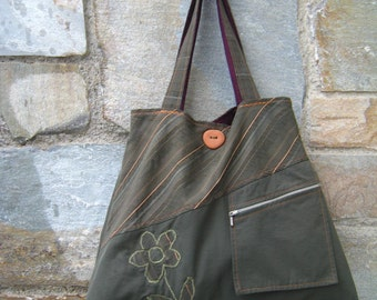 Handmade upcycled tote bag