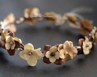 Rustic flower crown bridal headband in cream and brown, Flower crown, Wedding headband Woodland halo, Floral crown, Rustic hair wreath