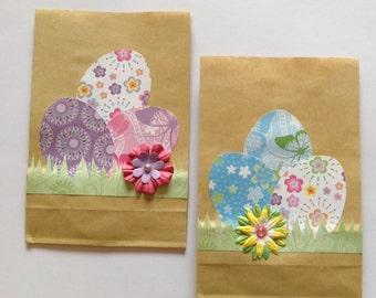 Easter paper bags, kids easter bag, treat bag, egg bags, Easter eggs, kraft bags, decorated, Easter party bag