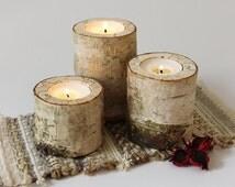 Log candle holder, Rustic birch candle holder, Wood tealight holder, Wooden candle holder, Rustic decor, Rustic wedding decor, Woodland baby