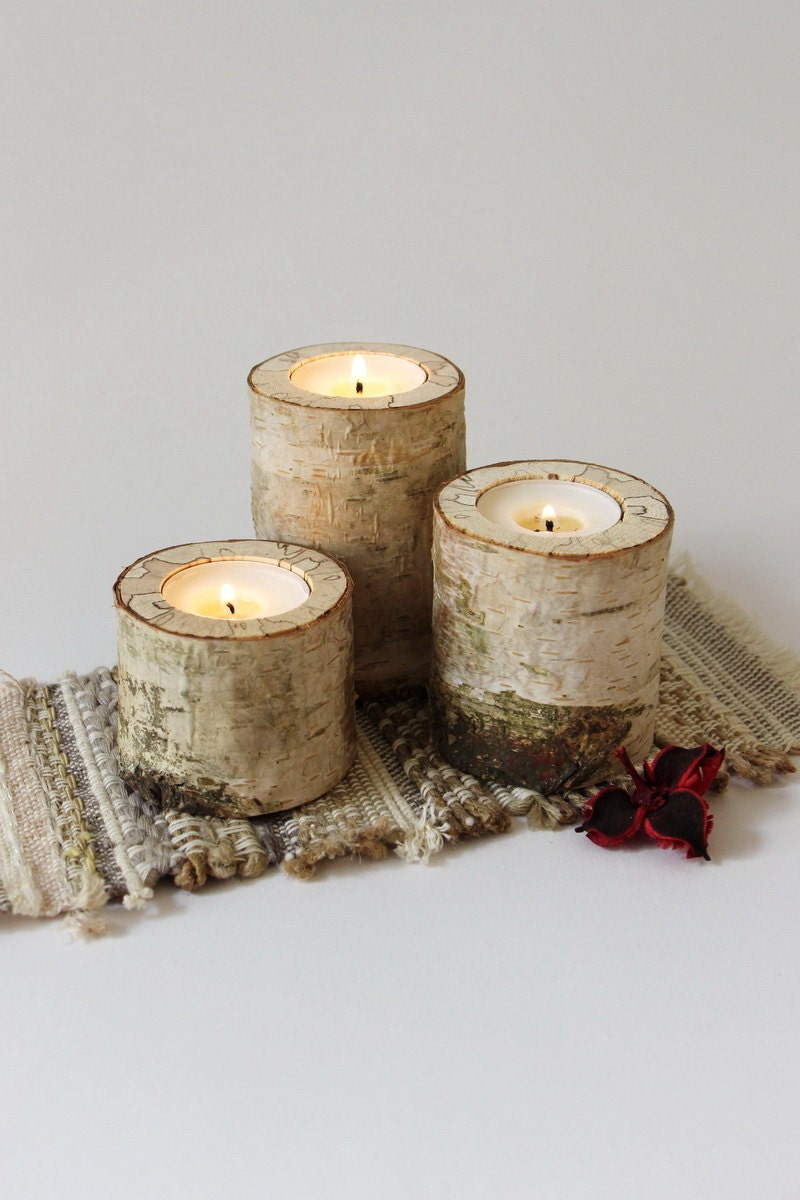 Log candle holder rustic birch candle holder wood tealight for Rustic wood candle holders