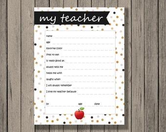 All About Teacher Printable, Teacher Appreciation Gift, Teacher Printable, All about my teacher, DIY printable, printable teacher gift.