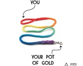 """Range Rope Leash - """"Pot of Gold"""" - Hand dyed in the 7 colours of the rainbow"""
