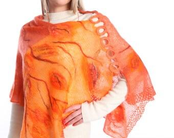 Chesnut autumn color warm wool felted wrap