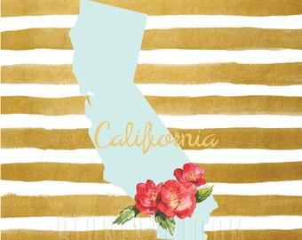 California Wall Art - State Art Print - Map Wall Print - State Map Art Printable - Map Art Print - Map Art Printable - INSTANT DOWNLOAD