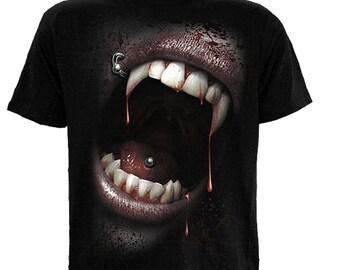 T Shirt GOTH FANGS Vampire Gothic Horror Emo Alternative