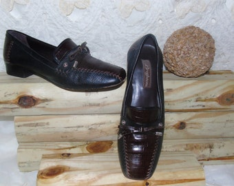 Womens Vintage Brown And Black Soft Leather BRIGHTON Shoes Loafers Flats Size 9M