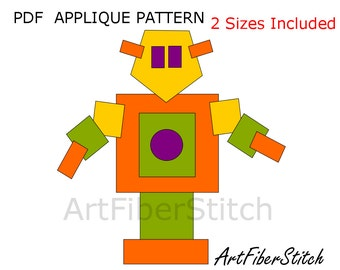 Square Robot  PDF Applique Template Pattern - available for instant download from ArtFiberStitch