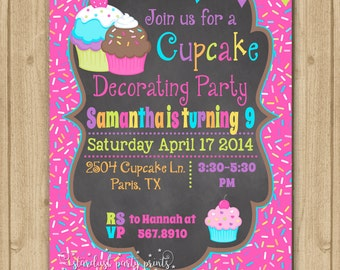Cupcake Birthday Invitation, Cupcake Invitation, Cupcake Birthday, Cupcake Party, Cupcake Chalkboard Invitation, Cupcake first birthday