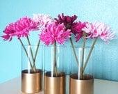 Glass Vase, Set of 3, Gold