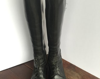 Equestrian Black Lace Up Leather Boots The Effingham by Bond Boot Co.
