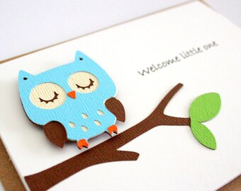 "Baby Card - Owl ""Welcome Little One"" - Gender Neutral, Boy or Girl"