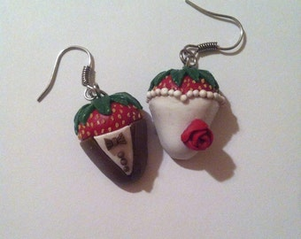 Polymer clay bride & groom chocolate covered strawberry earrings