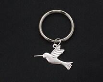 hummingbird keychain, silver bird charm keyring, animal keychain, hummingbird charm key chain, Mothers Day keychain, party favor gifts