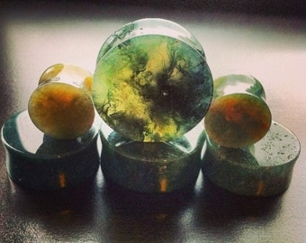 Moss agate concave stone plugs