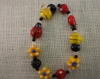 Whimsical Lady Bug/Bee Stretch Bracelet