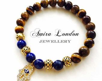 Tigers Eye gemstone bead bracelet,lapis lazuli bracelet,Gold  hamsa charm,gold bead bracelet,dimonte hamsa,gift for him,gift for her