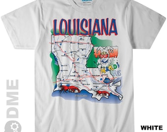 LOUISIANA The Pelican State Road Map Souvenir T Shirt